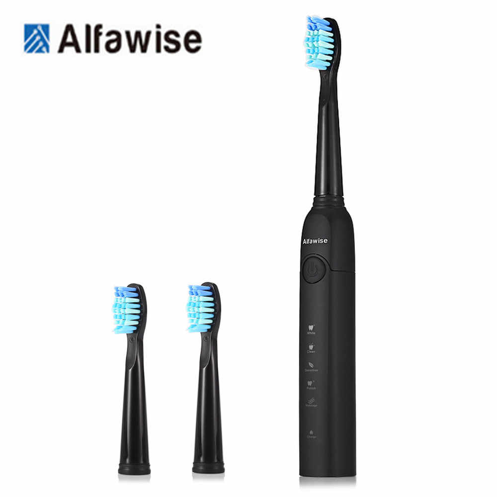 Alfawise SG-949 звуковая электрическая зубная щетка с умным таймером пять режимов чистки водонепроницаемый с 3 головками щетки + коробка для хранения Z30
