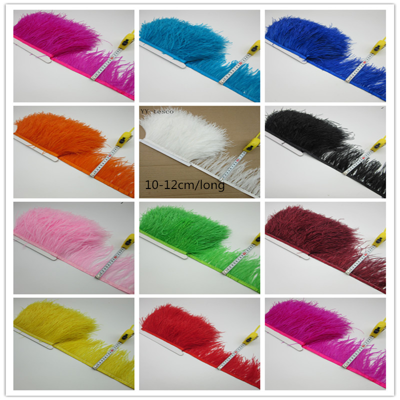1 Meter/lot Multi Color Long Ostrich Feather Plumes Fringe trim10-12cm Feather Boa Stripe for Party Clothing Accessories GPD8194