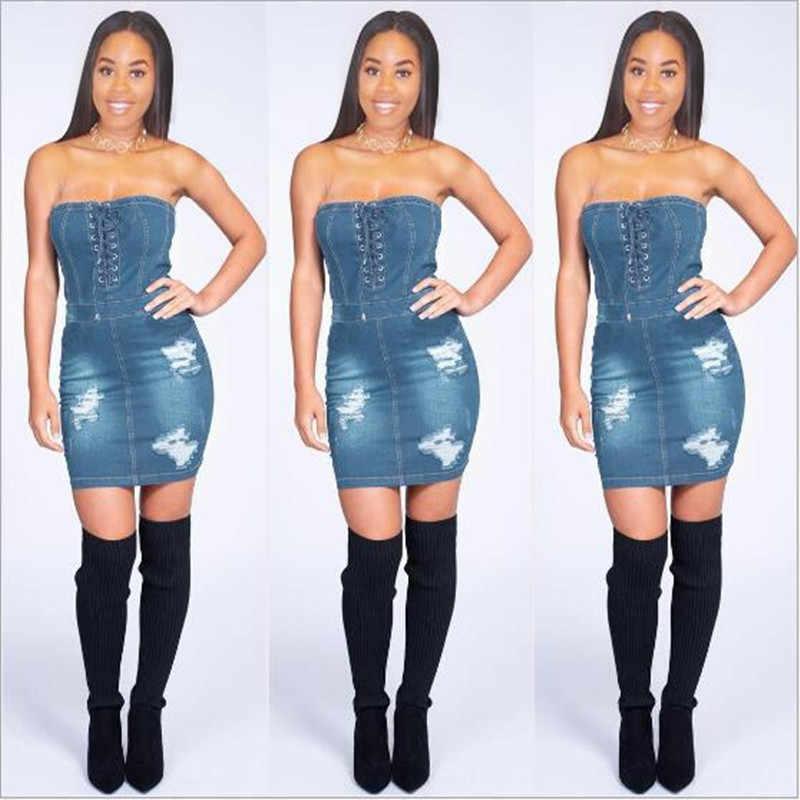 Сексуальные джинсовые женские платья с открытыми плечами, без бретелек мини-платье без рукавов джинсы женские сзади молния Бандажное переднее платье с галстуком QC498