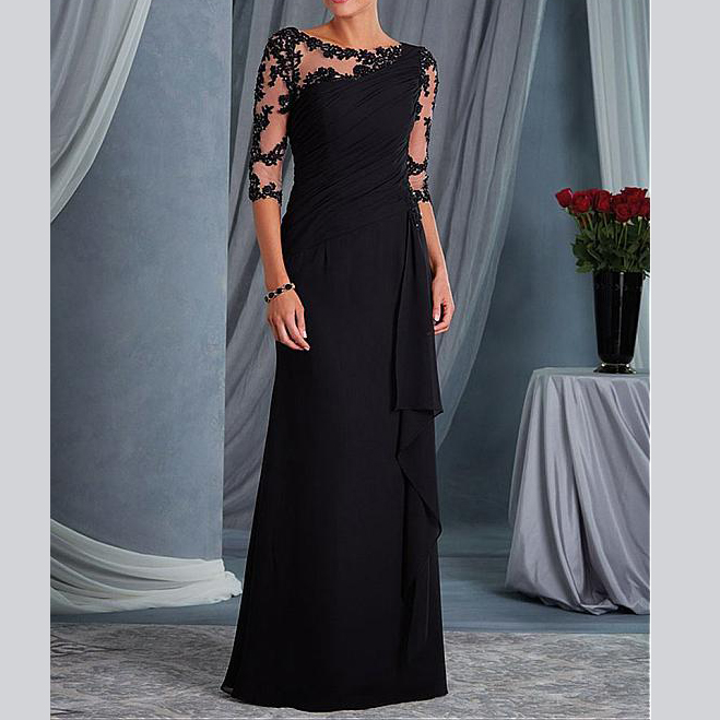 Modest Custom Made Elegant Mother Half Sleeves Scoop Appliques Evening Dress Women's Dresses Mother Of The Bride Gowns 2019