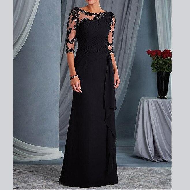 Modeste Sur Mesure Mère Élégante Demi Manches Scoop Appliques Robe de Soirée femmes Robes mère de la mariée robes 2019