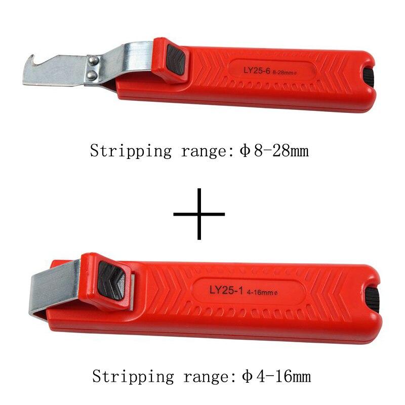 2 pcs dénuder couteau PVC, CAOUTCHOUC dénuder outil combiné ronde câble décapage pince ensemble