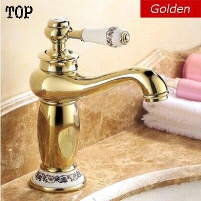 Robinets de salle de bain Vintage doré avec porcelaine antique en laiton robinet de salle de bain évier d'eau mélangeur 2014 nouvelle version robinet supérieur