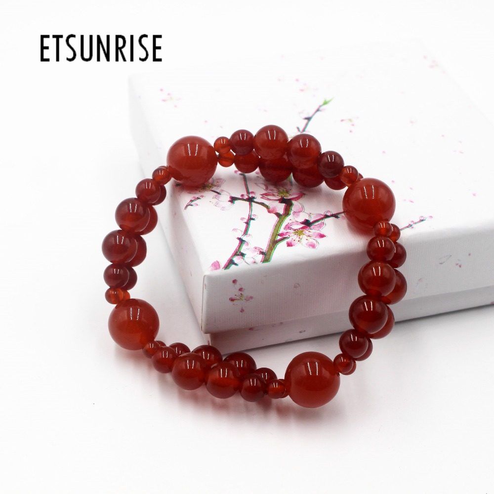 ETSUNRISE B0002 Red agates combination Bracelet with eight mm six mm four mm