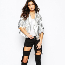 2016 New Autumn Fashion Street Women's Short Silver PU Leather Jacket Zipper Bright Colors New Ladies Basic Jackets Good Quality