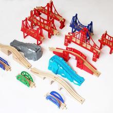EDWONE все виды мостов деревянная дорожка бук деревянный железнодорожный поезд круговой трек аксессуары Подходит для Thomas Biro