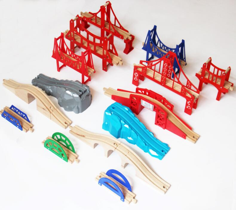 EDWONE  All Kinds Of Bridges Wood Track Beech Wooden Railway Train Circular Track Accessories Fit For Thomas Biro