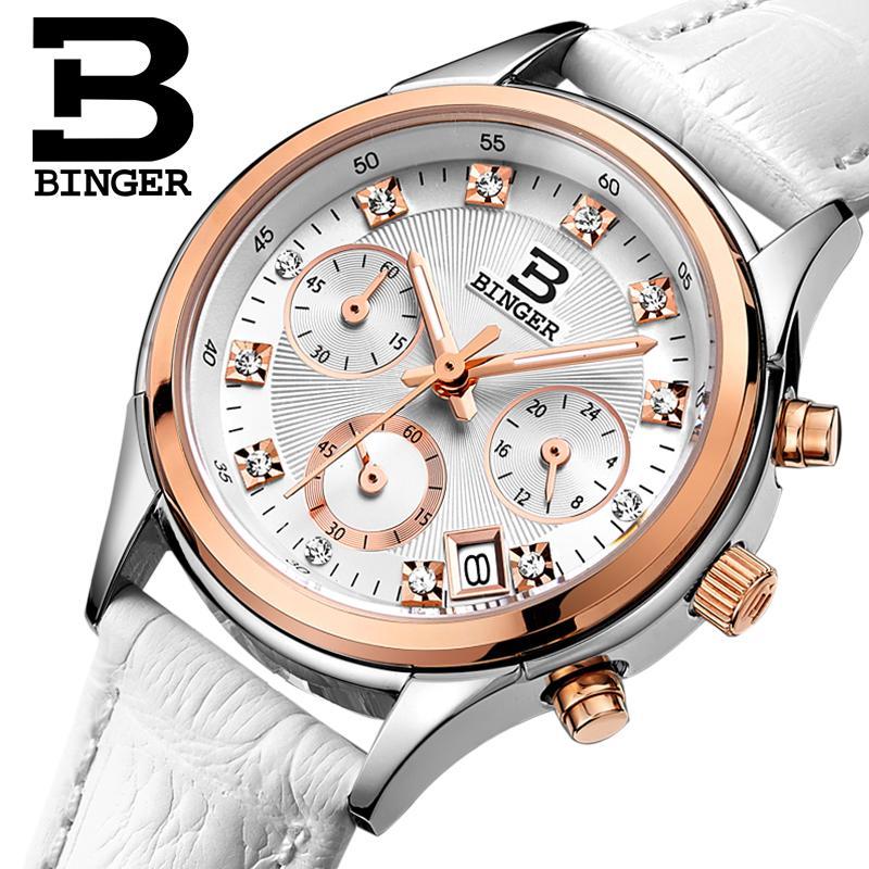 Binger Femmes de montres Suisse de luxe quartz étanche Femmes horloge véritable bracelet en cuir Chronographe Montres BG6019-W6