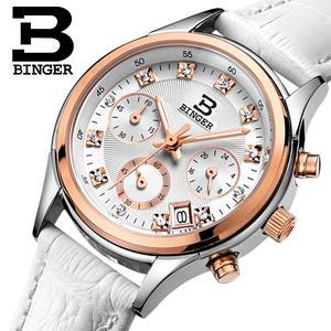 Image 1 - Binger Womens watches Switzerland luxury quartz waterproof Women clock genuine leather strap Chronograph Wristwatches BG6019 W6