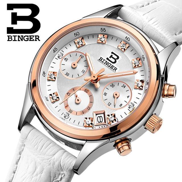 Binger Womens watches Switzerland luxury quartz waterproof Women clock genuine leather strap Chronograph Wristwatches BG6019 W6