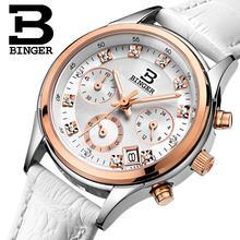 Binger kadın saatler İsviçre lüks kuvars su geçirmez kadın saat hakiki deri kayış Chronograph saatı BG6019 W6