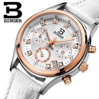 Switzerland Binger Watches Women Luxury Quartz Waterproof Genuine Leather Strap Chronograph Wristwatches BG6019 W6