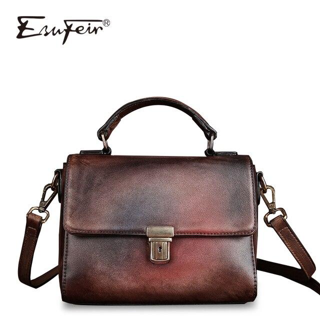 84ec3b79e347c ESUFEIR marki kobiet torba luksusowe torebki damskie torby projektant  Vintage, wytrzeć kolor PU torba na