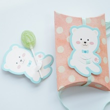 multi-use 25pcs lollipop cover smile blue bear baby shower children birthday candy decorate party Christmas gift DIY tag