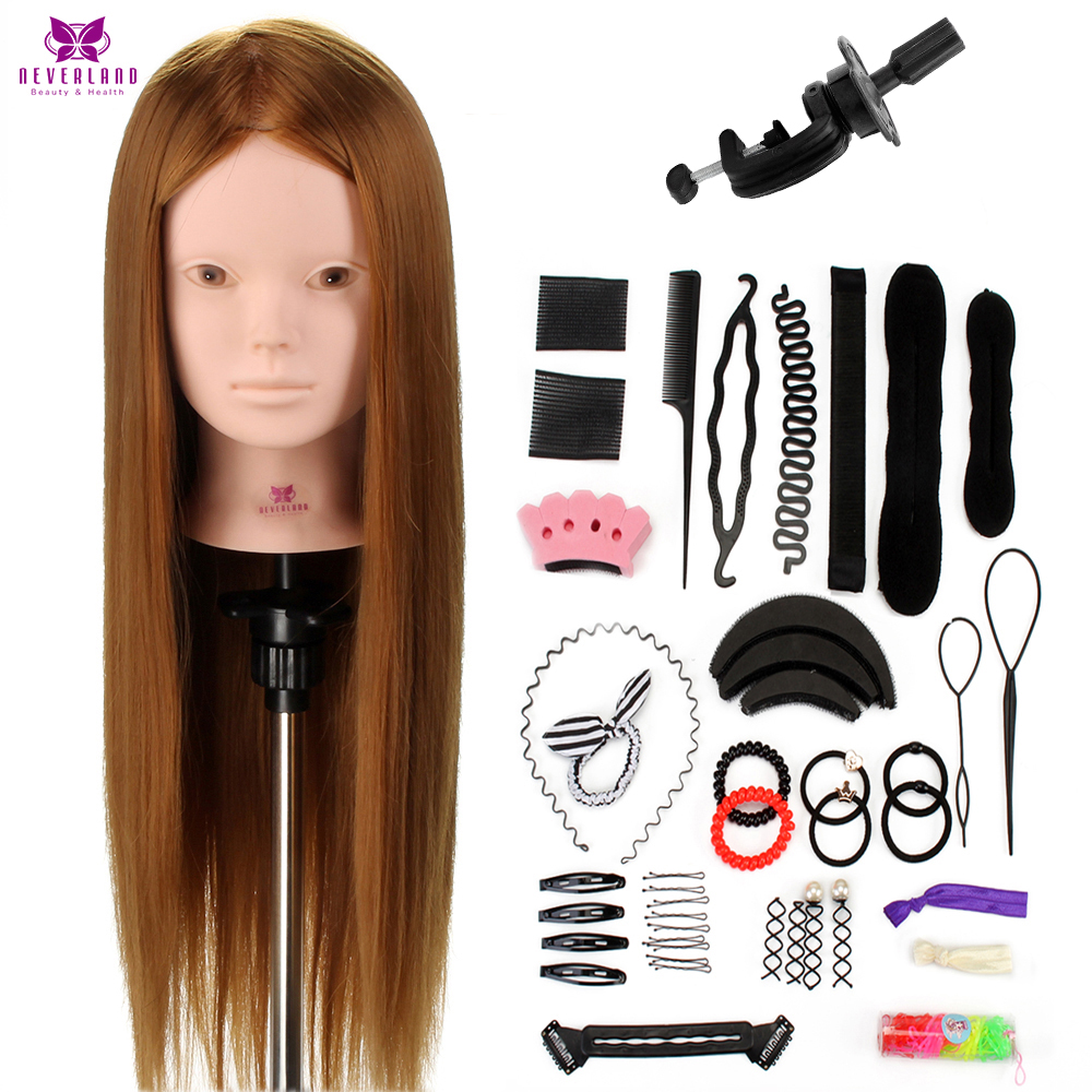 "Salon 24"" 50% Real Human Hair Training Head Practice Bride Hairstyle Hairdressing Doll Mannequin Head For Makeup +Comb Braid Set"