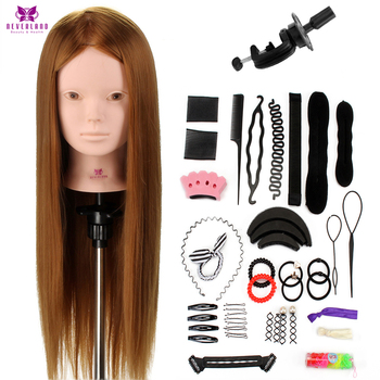 Salon 24″ 50% Real Human Hair Training Head Practice Bride Hairstyle Hairdressing Doll Mannequin Head For Makeup +Comb Braid Set