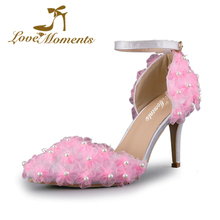 Pink Pearl Lace Flower Bridal Dress party Dancing  Shoes High Heels Thin Heel Pointed Toe Fashion Popular Wedding Pumps
