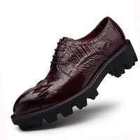 Sipriks Thick Rubber Sole Dress Shoes Men Elevator Shoes Genuine Leather Red Brown Mens Topsiders Derby Shoes Alligator Leather