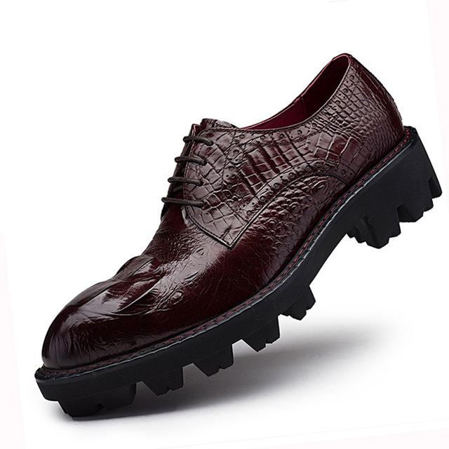 Sipriks Thick Rubber Sole Dress Shoes Men Elevator Shoes Genuine Leather  Red Brown Mens Topsiders Derby Shoes Alligator Leather e247f7ad70c