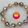women Bracelets jewelry 12-13mm Colorful Baroque Edison natural freshwater pearls airregular shaped / 14K gold ball