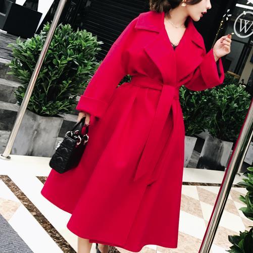 Manteau De Tempérament Mode Mince Haute Taille Jupe Mélanges Pardessus D'hiver Red Élégante Femmes Laine Dames 4XHxqH1