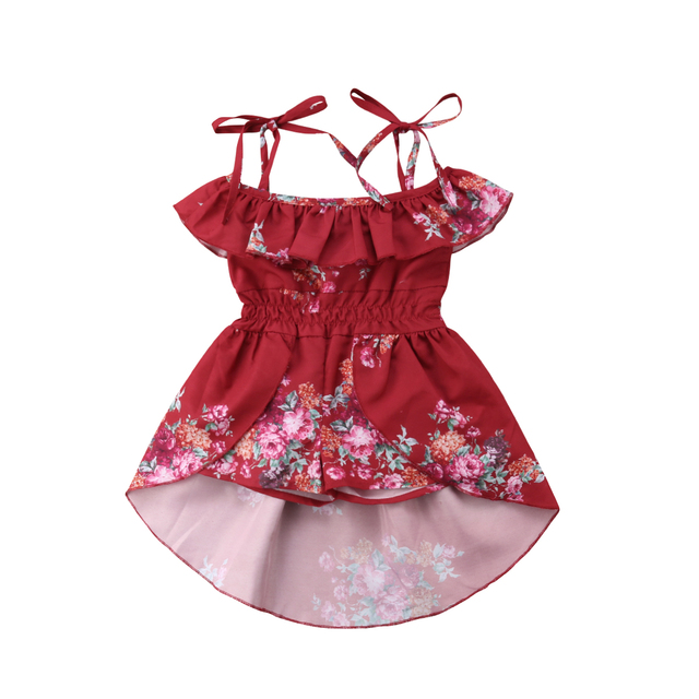 654bc5d3ea7 2018 Kids Baby Girl Off shoulder Floral Romper Jumpsuits Summer Strap Red Trousers  Outfits Dress