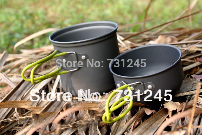 Pot Bowl Camping Cookware Cook Set Hiking Survival W Picnic cutlery Fork Spoon font b Knife