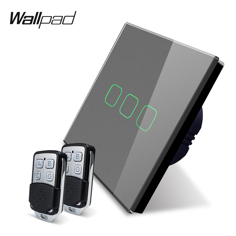 Image 4 - Wallpad K3 Capacitive Triple Dimmer Remote Touch Switch 3 Gang 4 Colors Tempered Glass Panel Wall Electrical Light Switch RF433-in Switches from Lights & Lighting