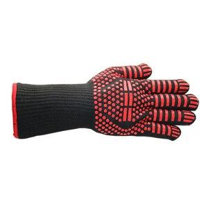 Image 5 - 1 paar Fire Isolatie Veiligheid Handschoenen 500 Celsius Hittebestendige Aramid Handschoen Aramid Grill BBQ Handschoen Oven Keuken Handschoen 4 kleur