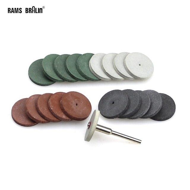 20 + 1 peças 3mm eixo dremel roda de polimento de borracha para metal acabamento dental mini broca moedor ferramentas rotativas