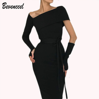2018 New Sexy Dress Long Sleeve Slash Neck Elegant Party Dress Split Vestidos Cocktail Party Dress With Belt Club Dress