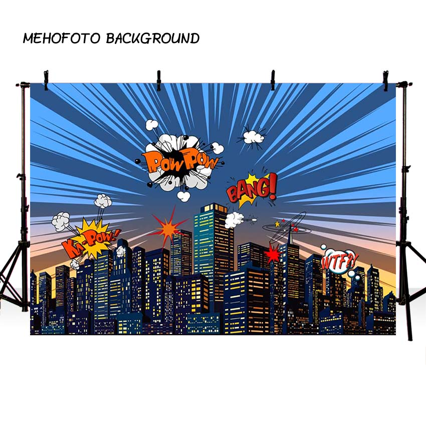 MEHOFOTO Superhero City Theme Photography Backdrop Children Birthday Party Backdrop for Photo Studio Background Custom G-152