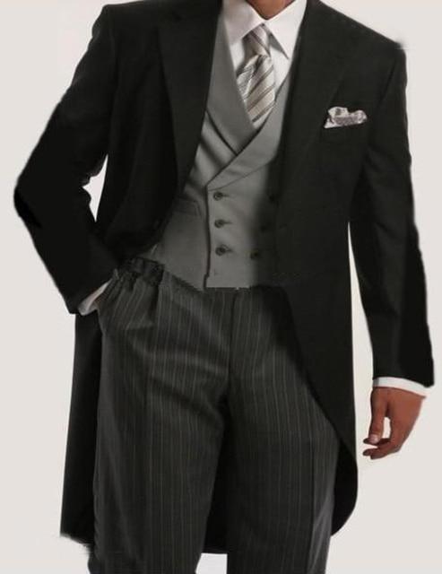 47823c354b0 2019 tres piezas traje trajes negro de corte Slim de esmoquin hombres novio  padrinos de trajes