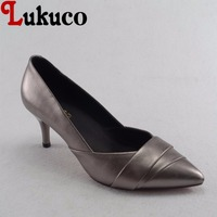 Lukuco elegant style gold women pointed toe pumps microfiber made low thin heel shoes with pigskin inside