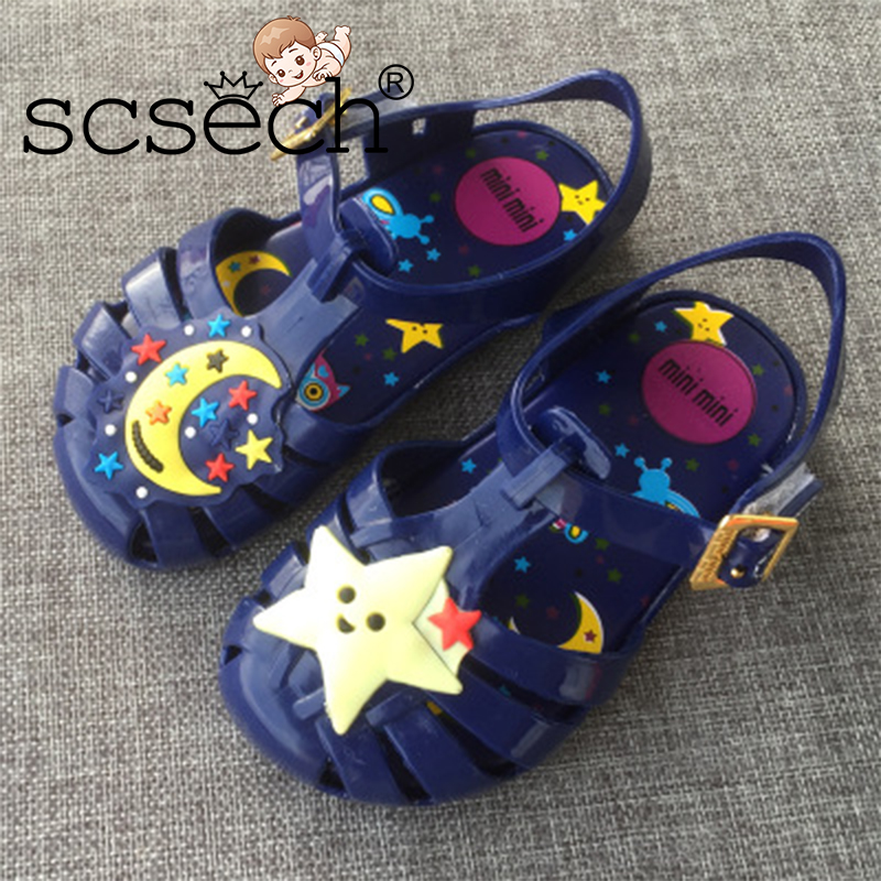 Scsech Summer Ne Jelly Cartoon Breathable Children Shoes Ocean Stars Moon Boys Girls Cool Slippers S8S34