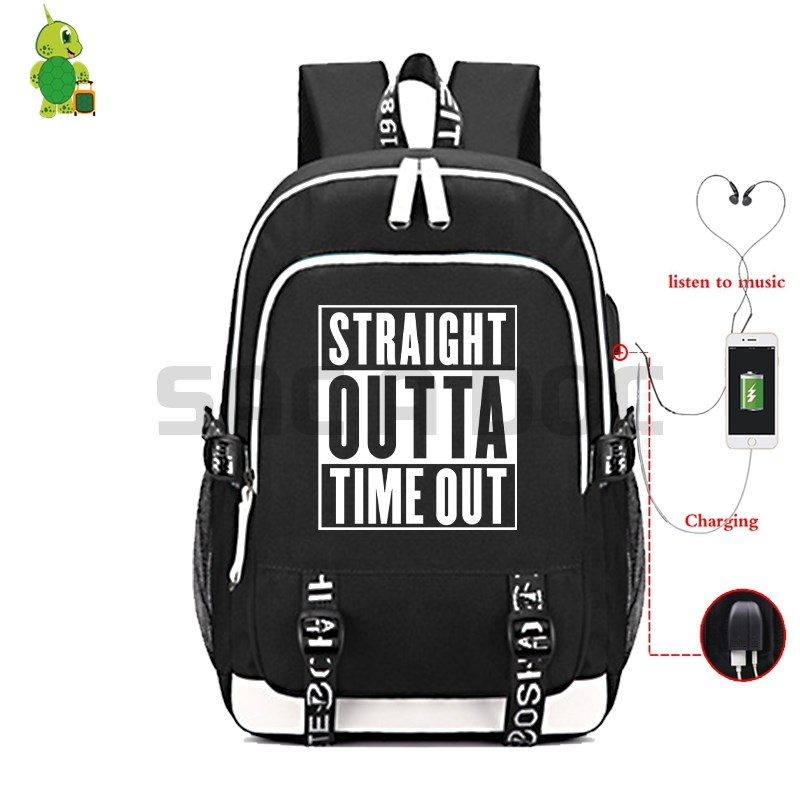 Straight Outta Time Out Backpack School Bags for Teenage Boys Girls Multifunction USB Charge Laptop Backpack Travel RucksackStraight Outta Time Out Backpack School Bags for Teenage Boys Girls Multifunction USB Charge Laptop Backpack Travel Rucksack