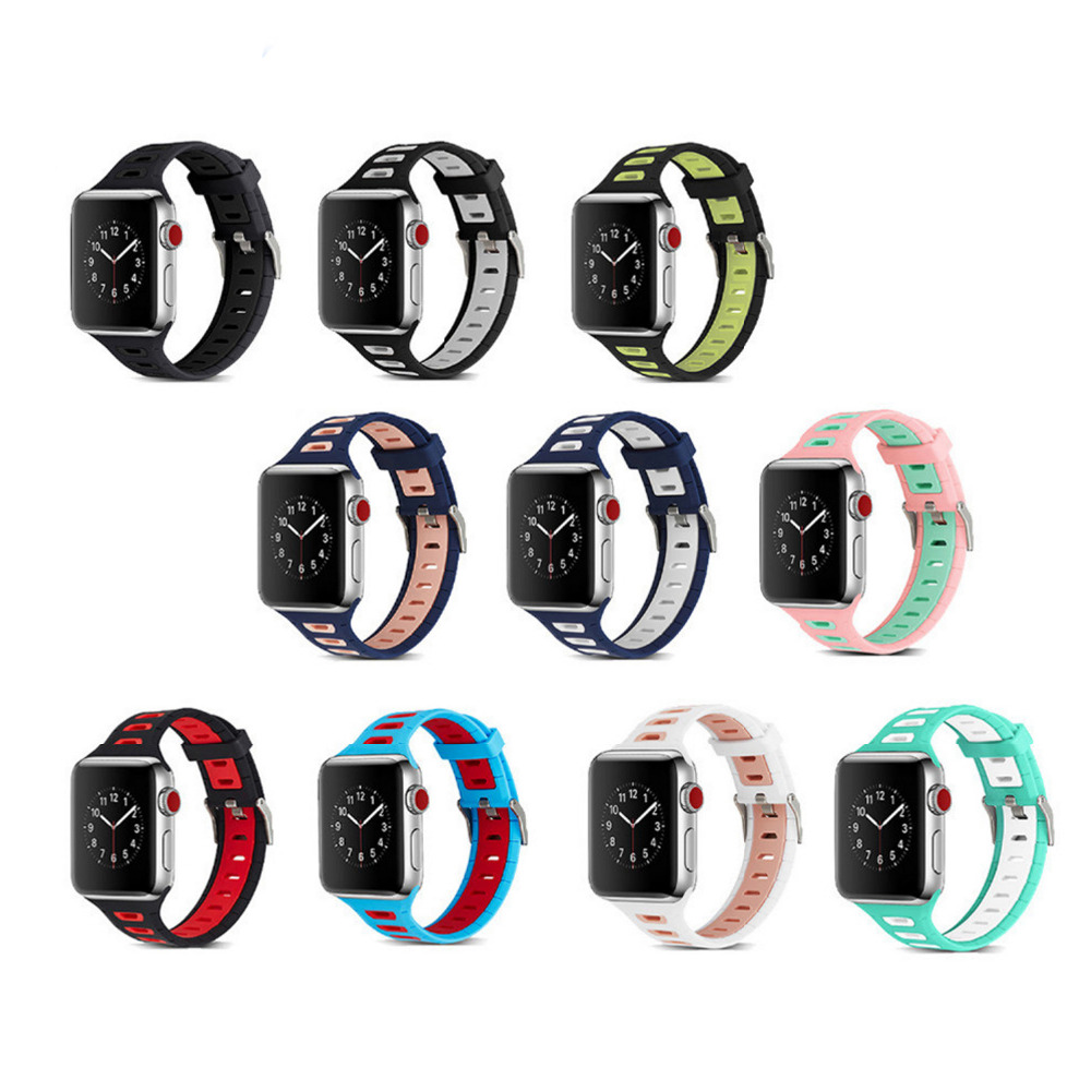sport silicone strap for apple watch band 42mm 38mm bracelet watchband for iwatch 3/2/1 watch accessories rubber watch strap jansin 22mm watchband for garmin fenix 5 easy fit silicone replacement band sports silicone wristband for forerunner 935 gps