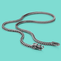 Men's Thai silver chains necklaces ethnic dragon design 925 sliver popular necklaces Solid silver body jewelry 56cm/61cm/66cm