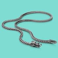 Tailandês dos homens correntes de prata colares étnico projeto do dragão 925 sliver colares populares corpo jóias de prata Sólida 56 cm/61 cm/66 cm