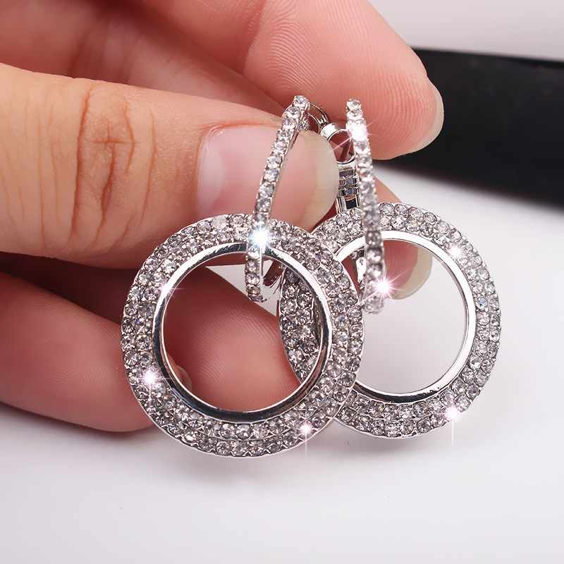 EK154 Merk Eropa Berlian Imitasi Anting-Anting Fashion Bulat Besar Bling Brincos Double Circle Anting Anting-Anting Elegan Wanita Pesta Perhiasan