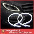 2 Pçs/lote 60 cm 12 W Branco + Amarelo Flexível Farol Daytime Lamp Switchback Faixa Angel Eye DRL Luz Decorativa com Sinal de Volta