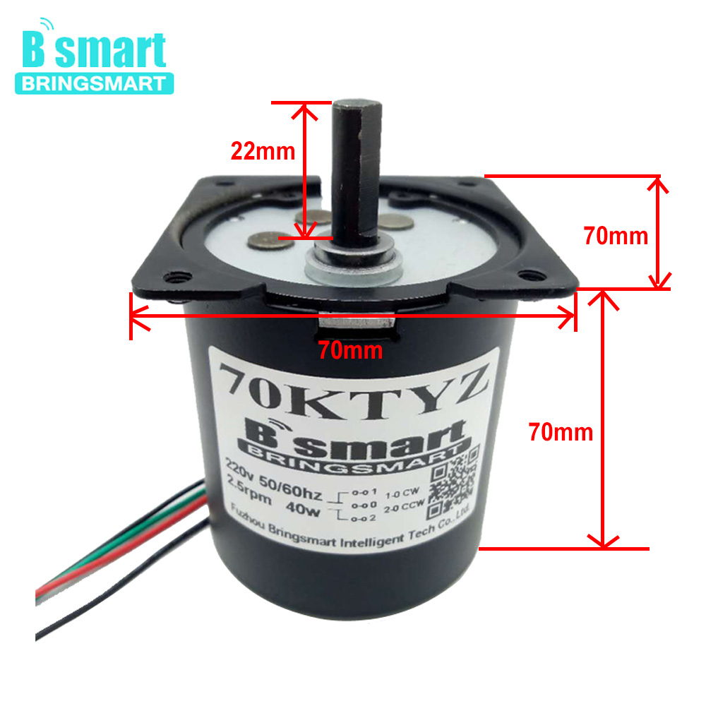 BRINGSMART 70KTYZ 2.5-110RPM 40W Miniature Low Speed Large Moment of Force Gear Motor Reverse Forward Motor For Barbecue TableBRINGSMART 70KTYZ 2.5-110RPM 40W Miniature Low Speed Large Moment of Force Gear Motor Reverse Forward Motor For Barbecue Table