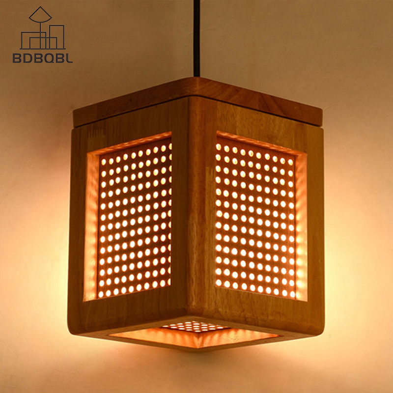 Bdbqbl Wood Pendant Lights Square Loft Decor Hanging Lamp E27 Light Fixtures For Living Room Dinning Hall Study Bar Dia15cm