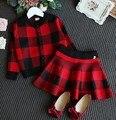 2-7Y новый 2017 весна девушки плед вязание пиджак + юбка одежда набор 2 шт. дети модная одежда набор девушек, юбки костюм детей набор