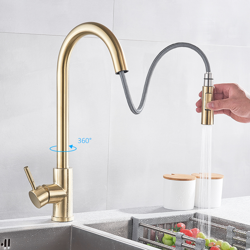 Quyanre Brushed Gold Kitchen Faucet Pull Out Kitchen Sink Water Tap Single Handle Mixer Tap 360 Rotation Kitchen Shower Faucet 3