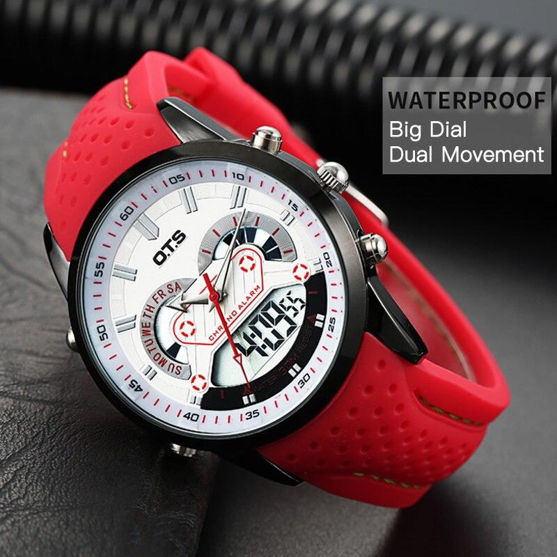 OTS New Men Fashion Wristwatches Luxury Famous Brand Men S Leather PU Strap Watch Waterproof LED