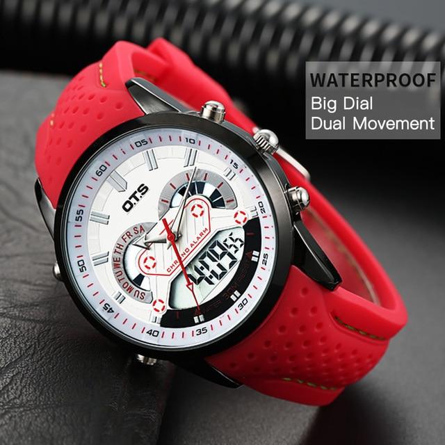 OTS Новый Для мужчин модные Наручные часы Роскошные известный бренд Для мужчин кожаные PU ремешок смотреть Водонепроницаемый светодиодный цифровой Спортивные часы