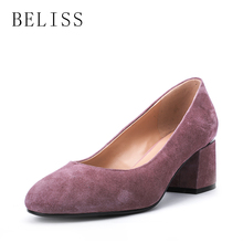 BELISS 2019 women pumps square thick heels ladies slip on shallow comfortable genuine leather shoes for woman round toe D5