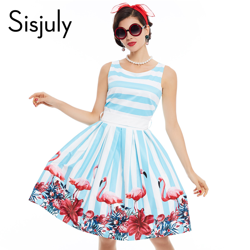 Sisjuly women vintage dress floral print belt summer tank dress blue white stripe a line elegant female party round neck dress