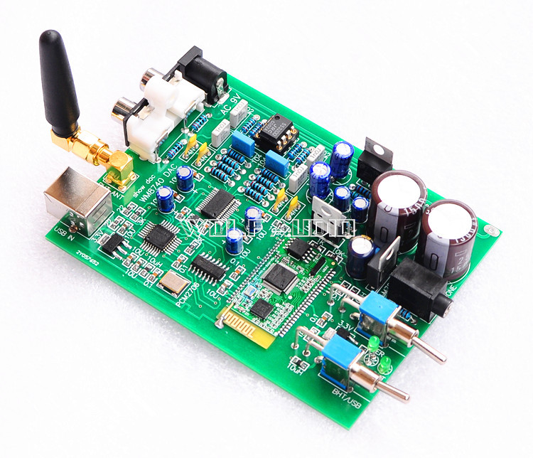 HIFI WM8740+PCM2706USB+ Bluetooth Receiver USB DAC Board Audio Decoder AC 9~12V RCA Headphone output External antenna dc 5v bluetooth audio receiver module usb tf sd card decoding board preamp output support fat32 system